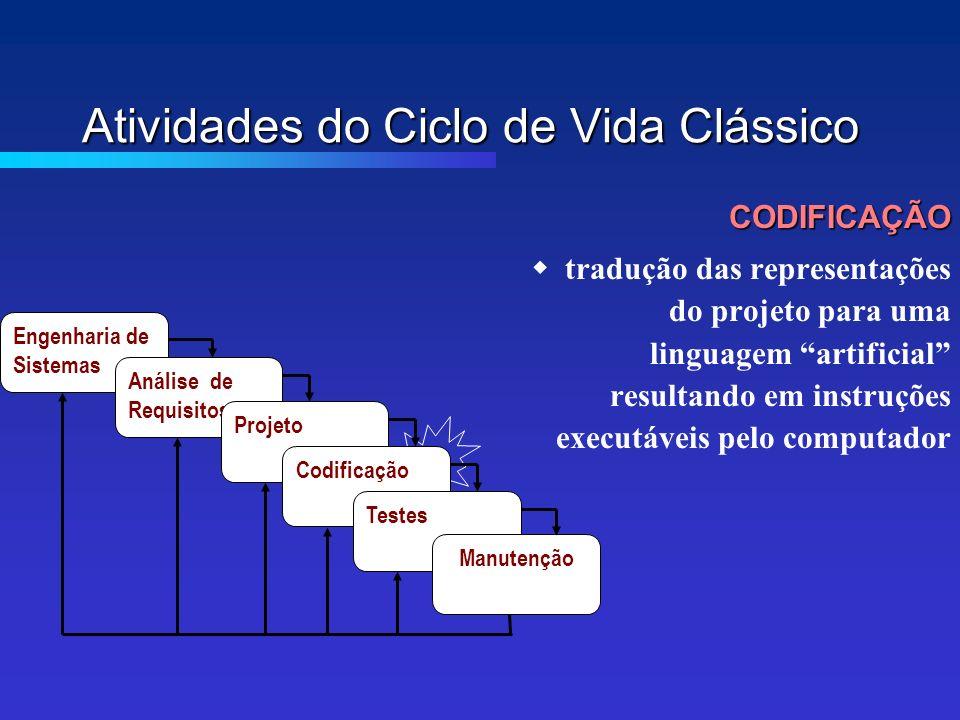 Atividades do Ciclo de Vida Clássico CODIFICAÇÃO tradução das representações do projeto para uma linguagem artificial resultando em instruções executáveis pelo computador Engenharia de Sistemas Análise de Requisitos Projeto Codificação Testes Manutenção