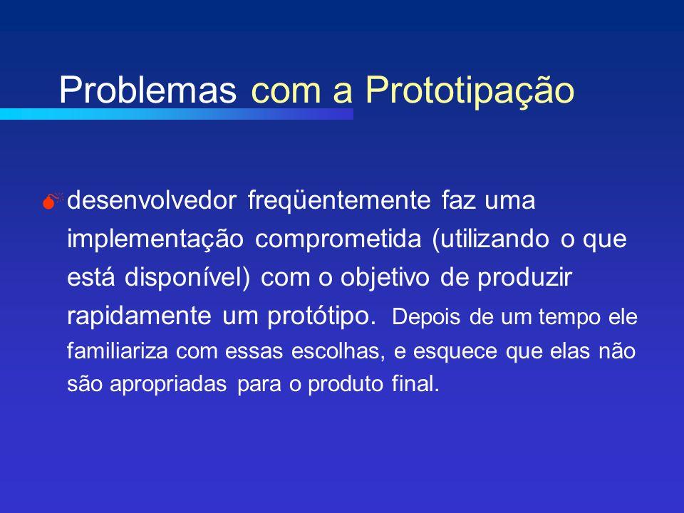 Problemas com a Prototipação desenvolvedor freqüentemente faz uma implementação comprometida (utilizando o que está disponível) com o objetivo de produzir rapidamente um protótipo.