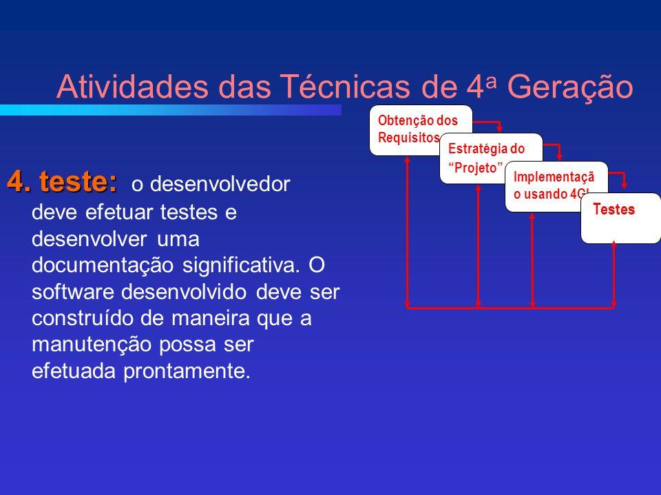 Atividades das Técnicas de 4 a Geração Obtenção dos Requisitos Estratégia do Projeto Implementaçã o usando 4GL Testes 4.