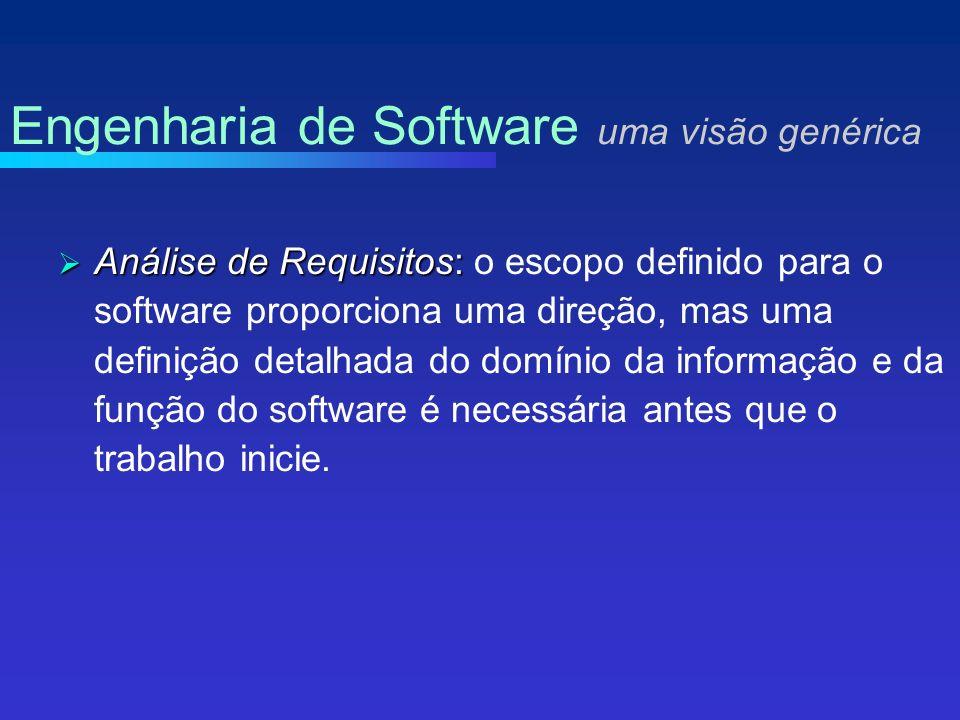 Análise de Requisitos: Análise de Requisitos: o escopo definido para o software proporciona uma direção, mas uma definição detalhada do domínio da informação e da função do software é necessária antes que o trabalho inicie.