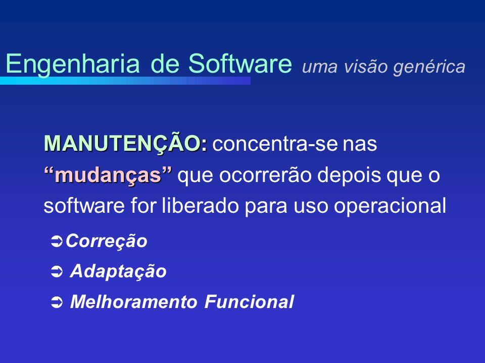 MANUTENÇÃO: mudanças MANUTENÇÃO: concentra-se nas mudanças que ocorrerão depois que o software for liberado para uso operacional Correção Adaptação Melhoramento Funcional Engenharia de Software uma visão genérica
