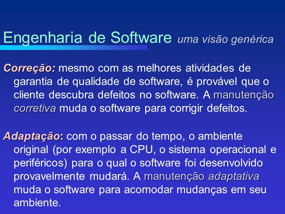 Correção: manutenção corretiva Correção: mesmo com as melhores atividades de garantia de qualidade de software, é provável que o cliente descubra defeitos no software.
