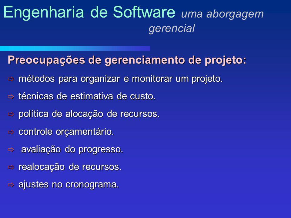 Preocupações de gerenciamento de projeto: métodos para organizar e monitorar um projeto.