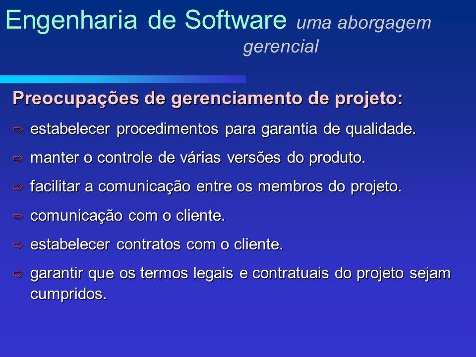 Preocupações de gerenciamento de projeto: estabelecer procedimentos para garantia de qualidade.