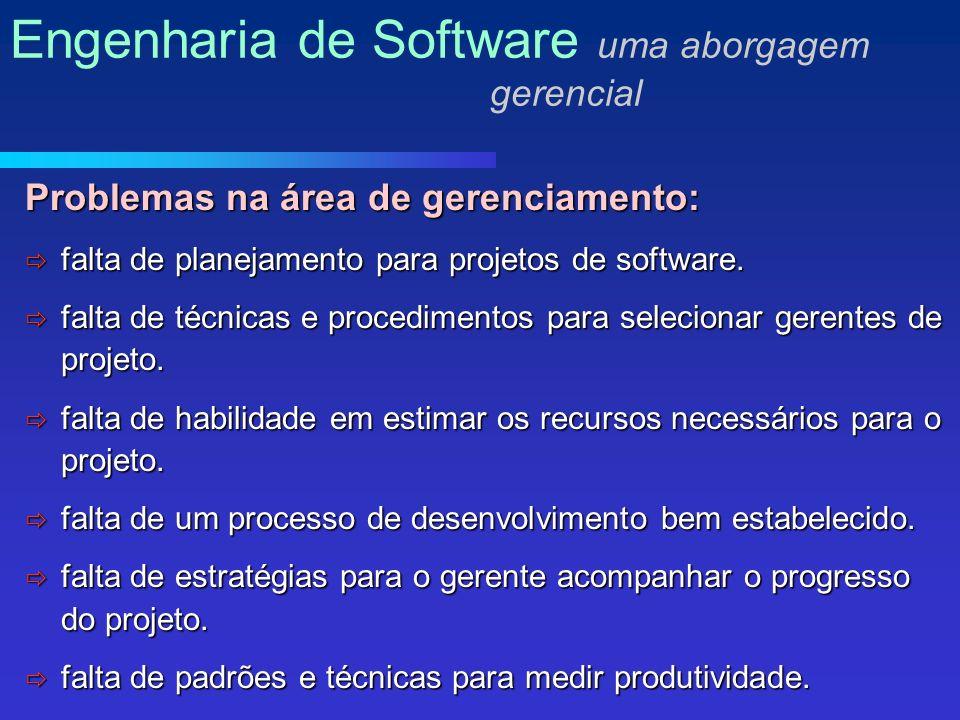 Problemas na área de gerenciamento: falta de planejamento para projetos de software.