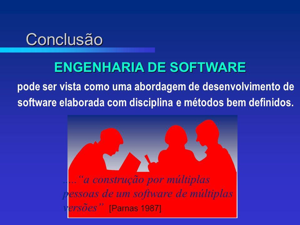 Conclusão ENGENHARIA DE SOFTWARE pode ser vista como uma abordagem de desenvolvimento de software elaborada com disciplina e métodos bem definidos......a construção por múltiplas pessoas de um software de múltiplas versões [Parnas 1987]