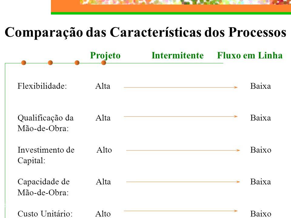Comparação das Características dos Processos Projeto Intermitente Fluxo em Linha Flexibilidade: AltaBaixa Qualificação da AltaBaixa Mão-de-Obra: Inves
