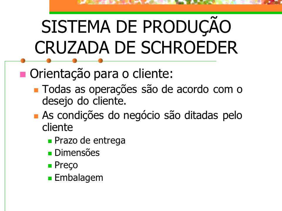 Orientação para o cliente: Todas as operações são de acordo com o desejo do cliente. As condições do negócio são ditadas pelo cliente Prazo de entrega