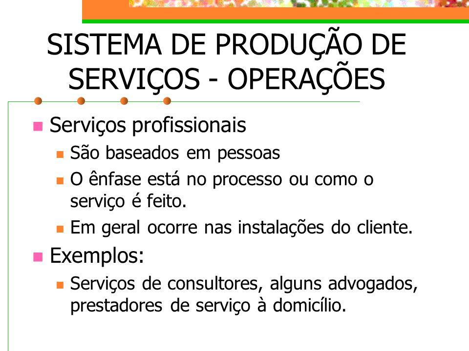 SISTEMA DE PRODUÇÃO DE SERVIÇOS - OPERAÇÕES Serviços profissionais São baseados em pessoas O ênfase está no processo ou como o serviço é feito. Em ger