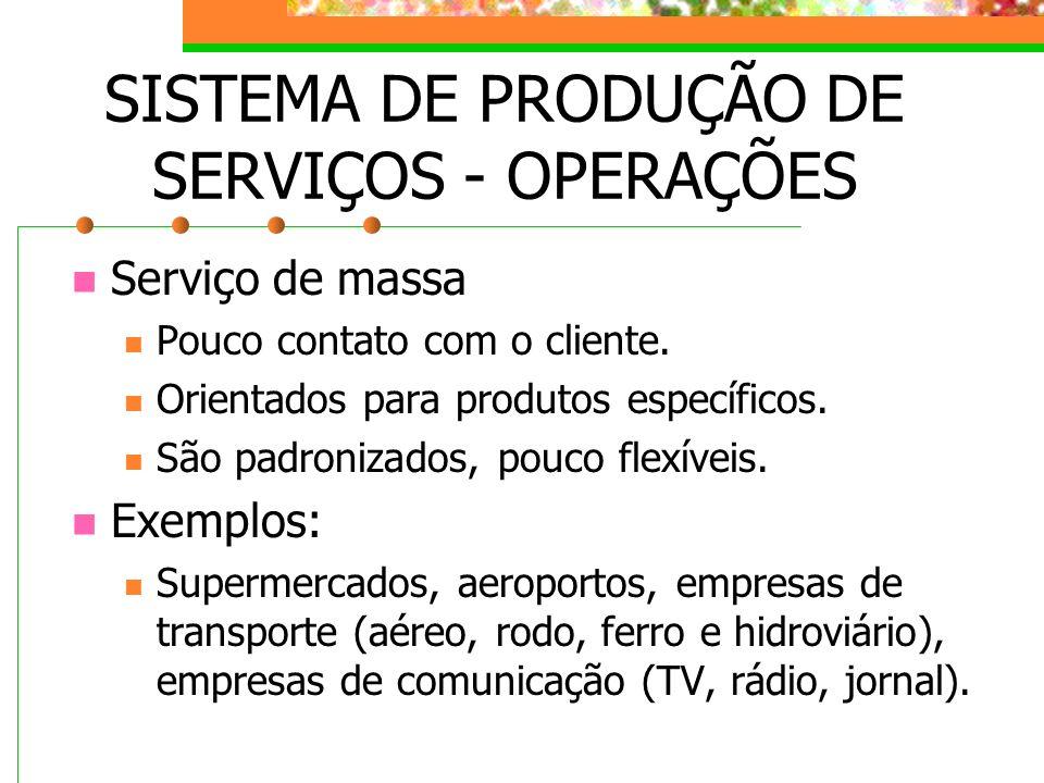 SISTEMA DE PRODUÇÃO DE SERVIÇOS - OPERAÇÕES Serviço de massa Pouco contato com o cliente. Orientados para produtos específicos. São padronizados, pouc