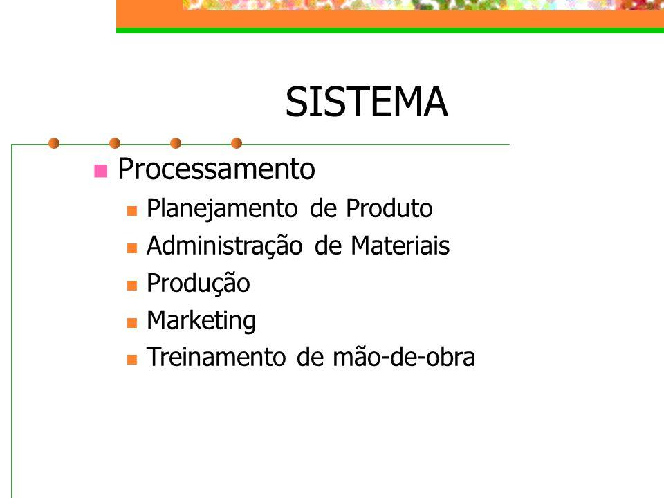 SISTEMA Processamento Planejamento de Produto Administração de Materiais Produção Marketing Treinamento de mão-de-obra