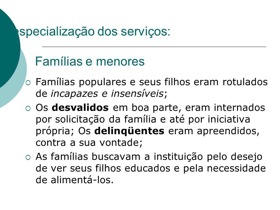 A especialização dos serviços: Famílias e menores Famílias populares e seus filhos eram rotulados de incapazes e insensíveis; Os desvalidos em boa par