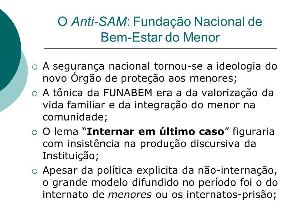 O Anti-SAM: Fundação Nacional de Bem-Estar do Menor A segurança nacional tornou-se a ideologia do novo Órgão de proteção aos menores; A tônica da FUNA
