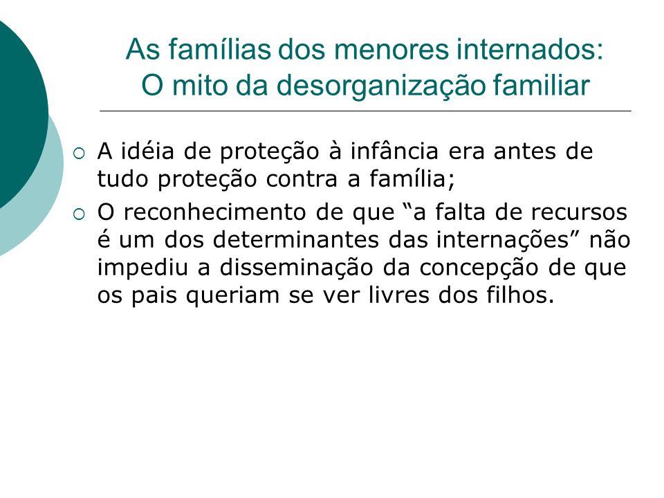 As famílias dos menores internados: O mito da desorganização familiar A idéia de proteção à infância era antes de tudo proteção contra a família; O re