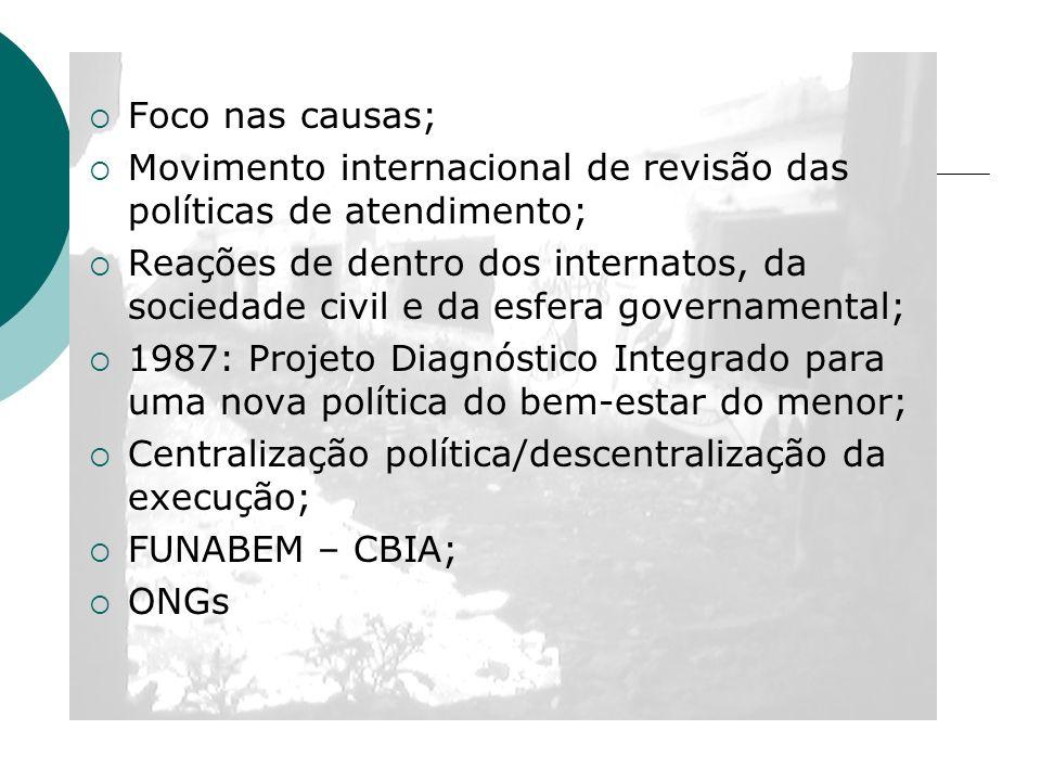 Foco nas causas; Movimento internacional de revisão das políticas de atendimento; Reações de dentro dos internatos, da sociedade civil e da esfera gov