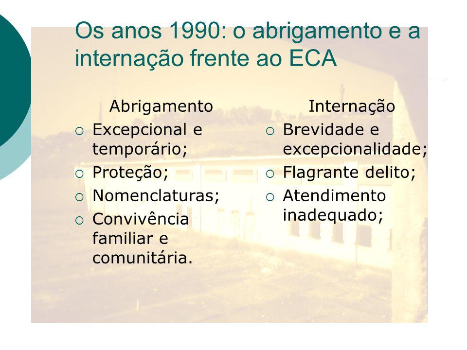Os anos 1990: o abrigamento e a internação frente ao ECA Abrigamento Excepcional e temporário; Proteção; Nomenclaturas; Convivência familiar e comunit
