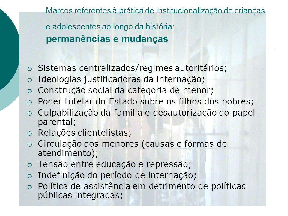 Marcos referentes à prática de institucionalização de crianças e adolescentes ao longo da história: permanências e mudanças Sistemas centralizados/reg