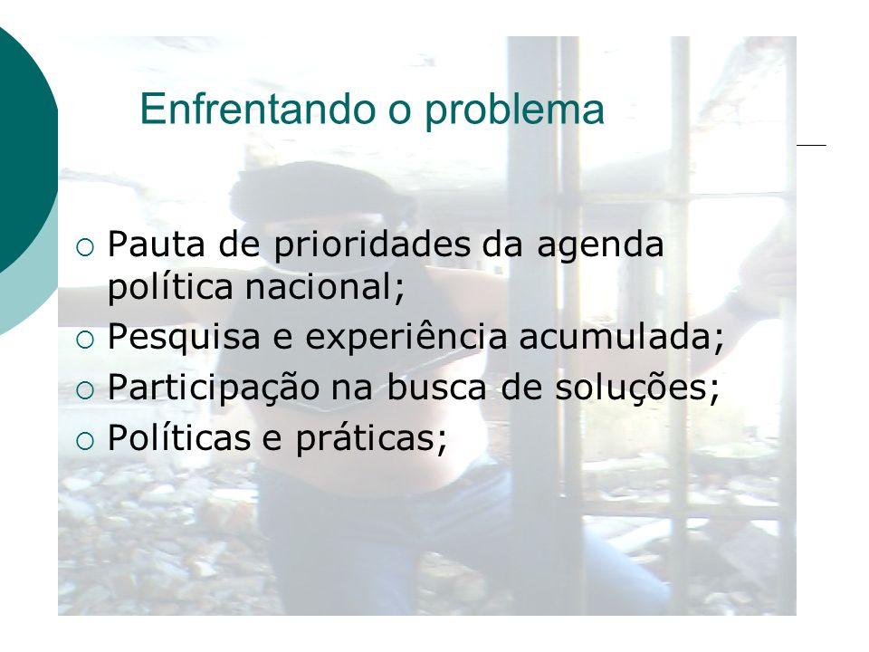 Enfrentando o problema Pauta de prioridades da agenda política nacional; Pesquisa e experiência acumulada; Participação na busca de soluções; Política
