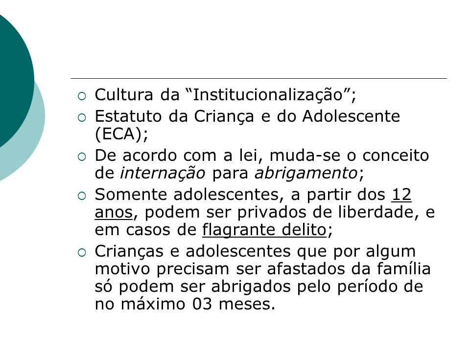 Cultura da Institucionalização; Estatuto da Criança e do Adolescente (ECA); De acordo com a lei, muda-se o conceito de internação para abrigamento; So