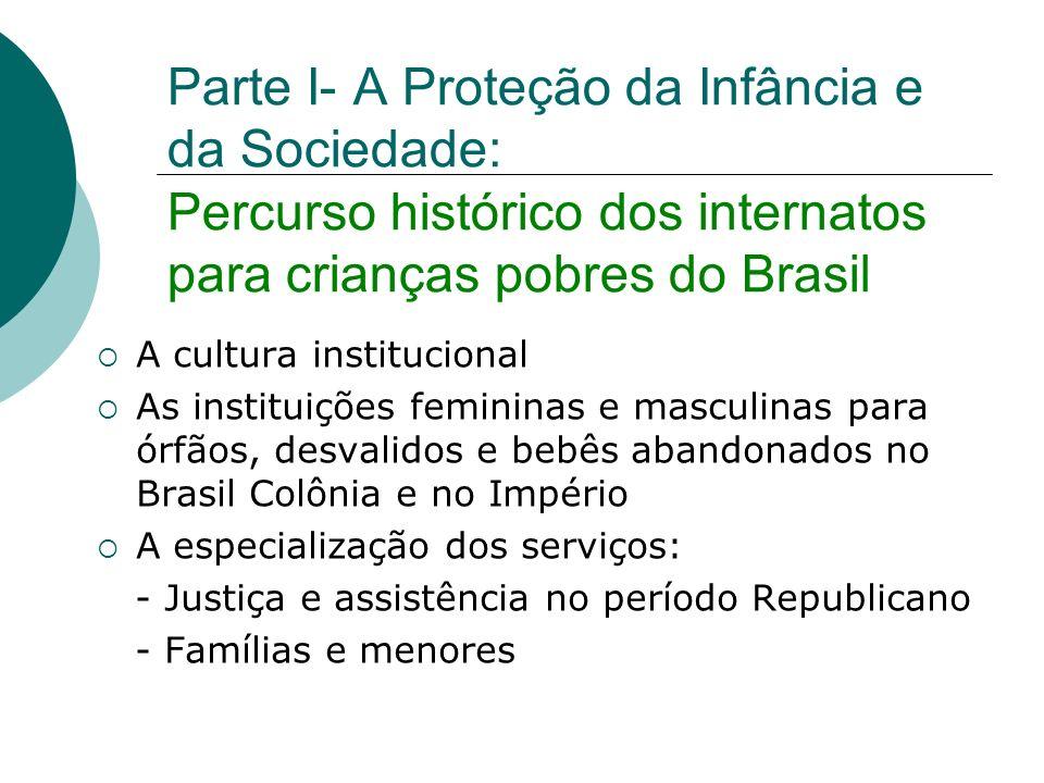 Parte I- A Proteção da Infância e da Sociedade: Percurso histórico dos internatos para crianças pobres do Brasil A cultura institucional As instituiçõ