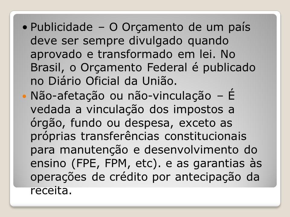 Publicidade – O Orçamento de um país deve ser sempre divulgado quando aprovado e transformado em lei. No Brasil, o Orçamento Federal é publicado no Di