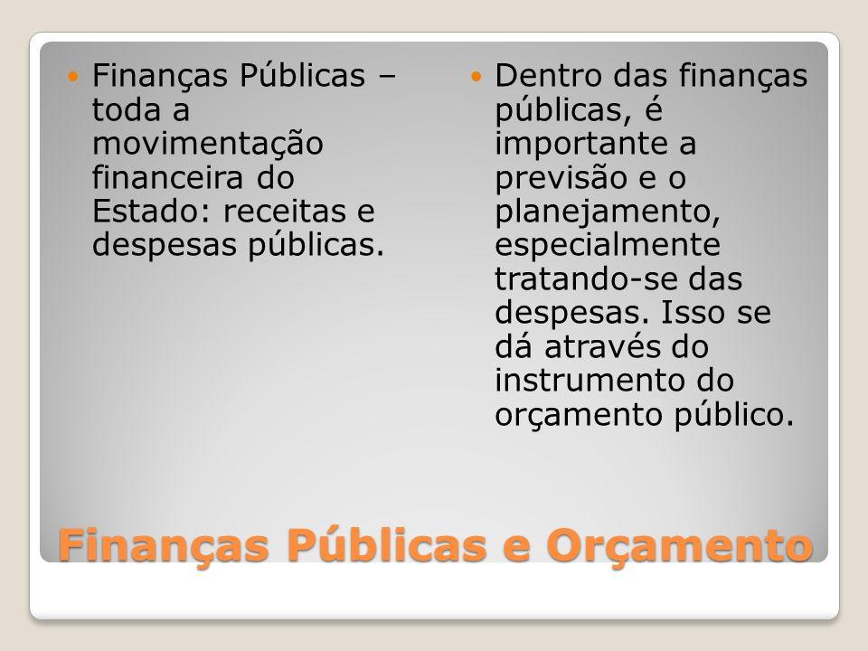 Finanças Públicas e Orçamento Finanças Públicas – toda a movimentação financeira do Estado: receitas e despesas públicas. Dentro das finanças públicas