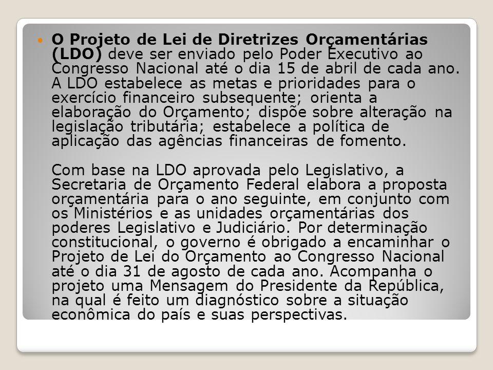 O Projeto de Lei de Diretrizes Orçamentárias (LDO) deve ser enviado pelo Poder Executivo ao Congresso Nacional até o dia 15 de abril de cada ano. A LD