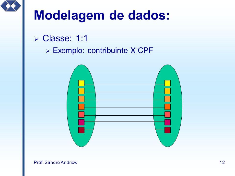 Prof. Sandro Andriow12 Modelagem de dados: Classe: 1:1 Exemplo: contribuinte X CPF