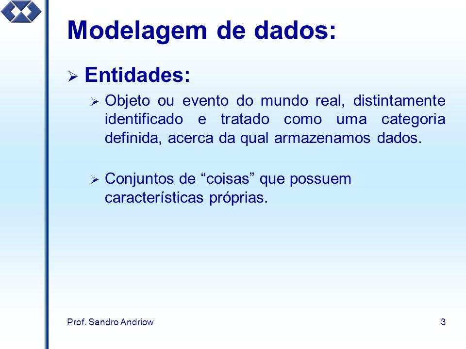 Prof. Sandro Andriow3 Modelagem de dados: Entidades: Objeto ou evento do mundo real, distintamente identificado e tratado como uma categoria definida,