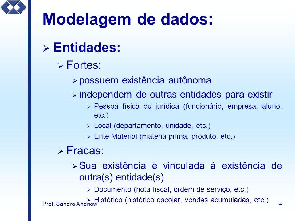 Prof. Sandro Andriow4 Modelagem de dados: Entidades: Fortes: possuem existência autônoma independem de outras entidades para existir Pessoa física ou