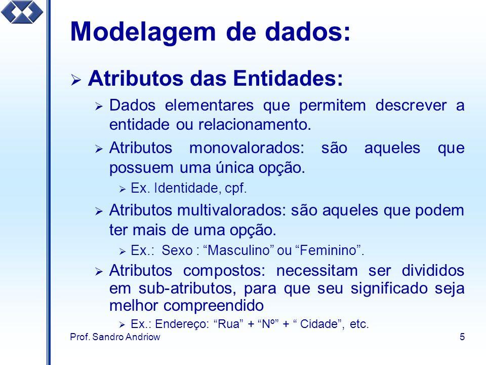 Prof. Sandro Andriow5 Modelagem de dados: Atributos das Entidades: Dados elementares que permitem descrever a entidade ou relacionamento. Atributos mo