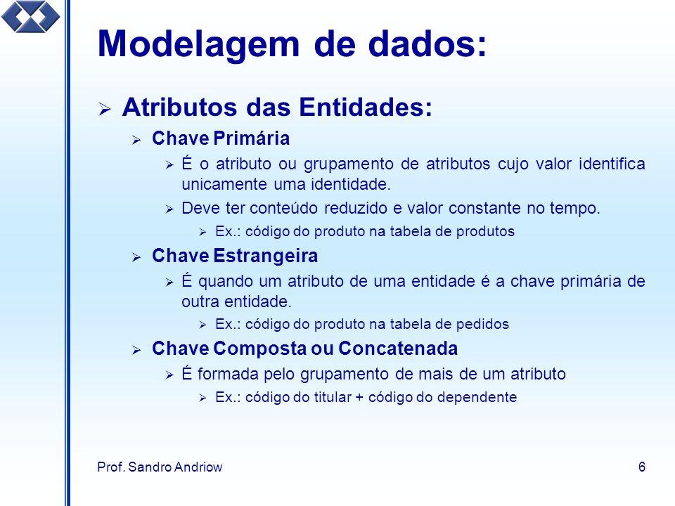 Prof. Sandro Andriow6 Modelagem de dados: Atributos das Entidades: Chave Primária É o atributo ou grupamento de atributos cujo valor identifica unicam