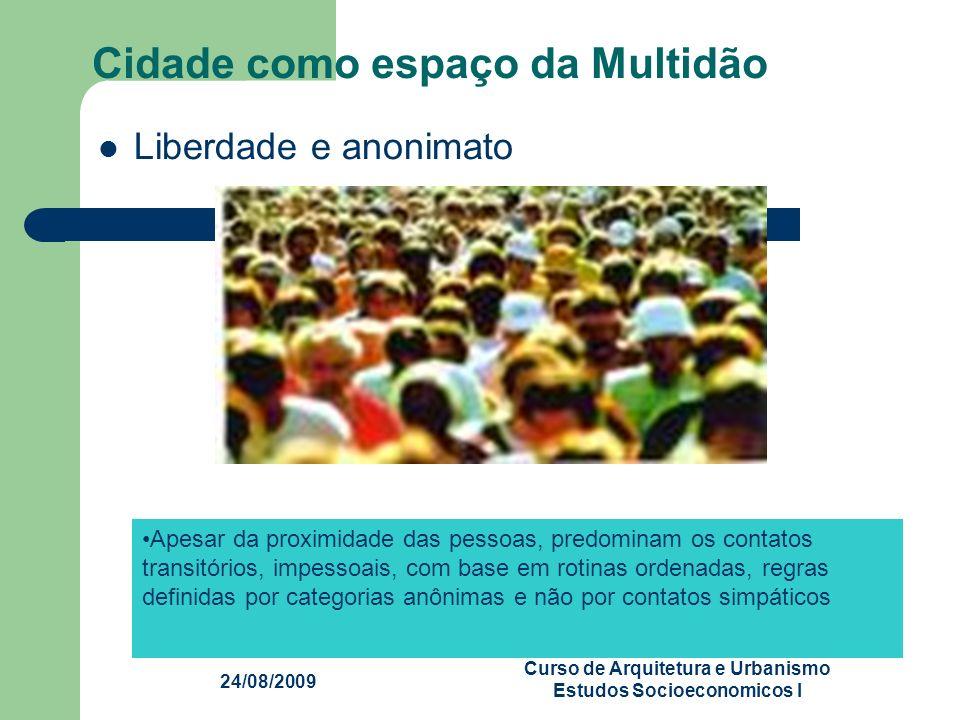 24/08/2009 Centro Universitário Franciscano Curso de Arquitetura e Urbanismo Estudos Socioeconomicos I Cidade como espaço da Multidão Liberdade e anon