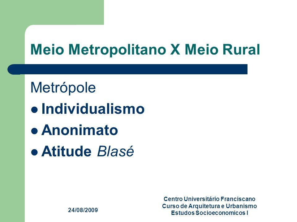 24/08/2009 Centro Universitário Franciscano Curso de Arquitetura e Urbanismo Estudos Socioeconomicos I Meio Metropolitano X Meio Rural Metrópole Indiv