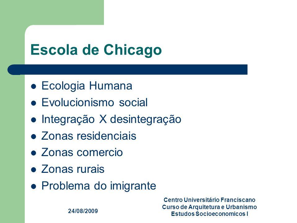 24/08/2009 Centro Universitário Franciscano Curso de Arquitetura e Urbanismo Estudos Socioeconomicos I Escola de Chicago Ecologia Humana Evolucionismo