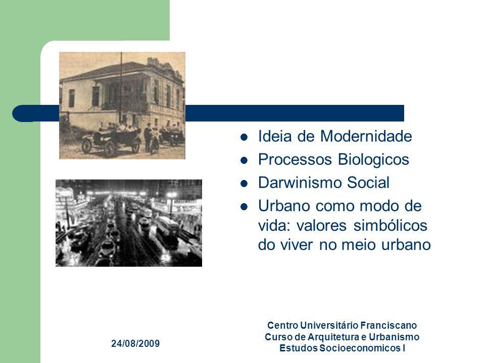 24/08/2009 Centro Universitário Franciscano Curso de Arquitetura e Urbanismo Estudos Socioeconomicos I Ideia de Modernidade Processos Biologicos Darwi