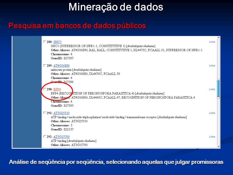 Mineração de dados Pesquisa em bancos de dados públicos Análise de seqüência por seqüência, selecionando aquelas que julgar promissoras