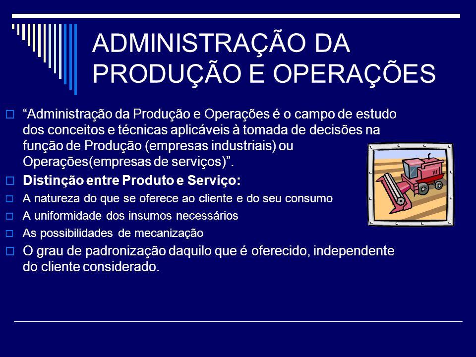 ADMINISTRAÇÃO DA PRODUÇÃO E OPERAÇÕES Administração da Produção e Operações é o campo de estudo dos conceitos e técnicas aplicáveis à tomada de decisõ