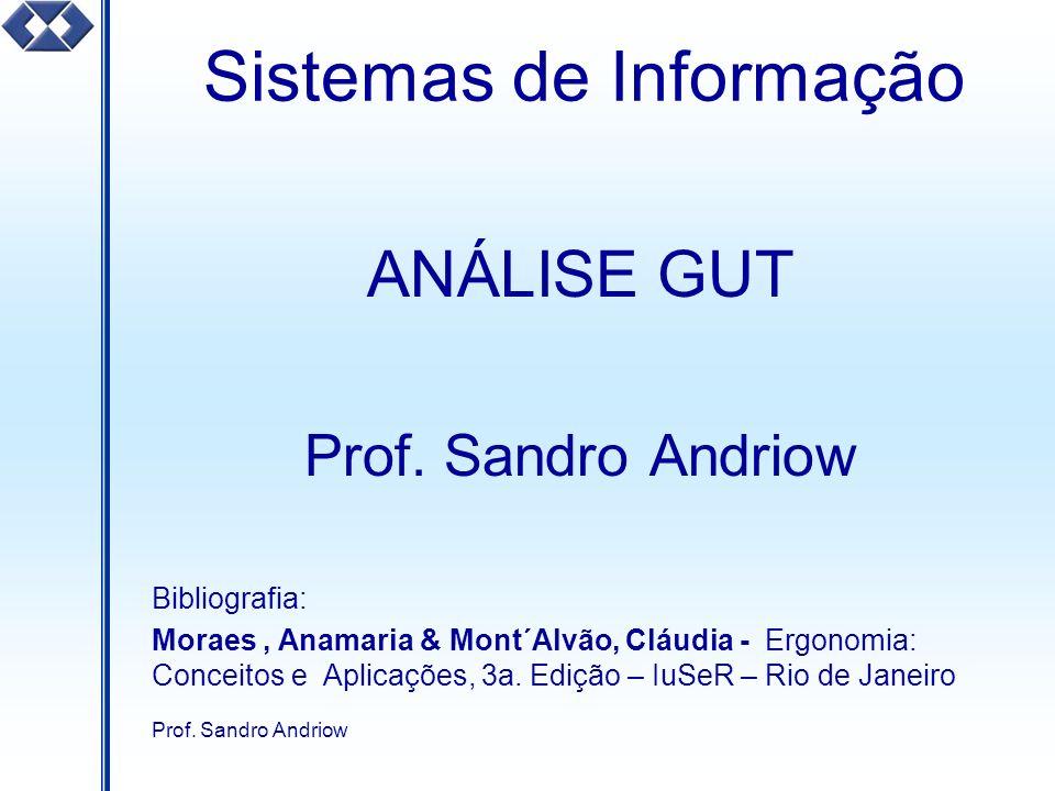Prof. Sandro Andriow Sistemas de Informação ANÁLISE GUT Prof. Sandro Andriow Bibliografia: Moraes, Anamaria & Mont´Alvão, Cláudia - Ergonomia: Conceit