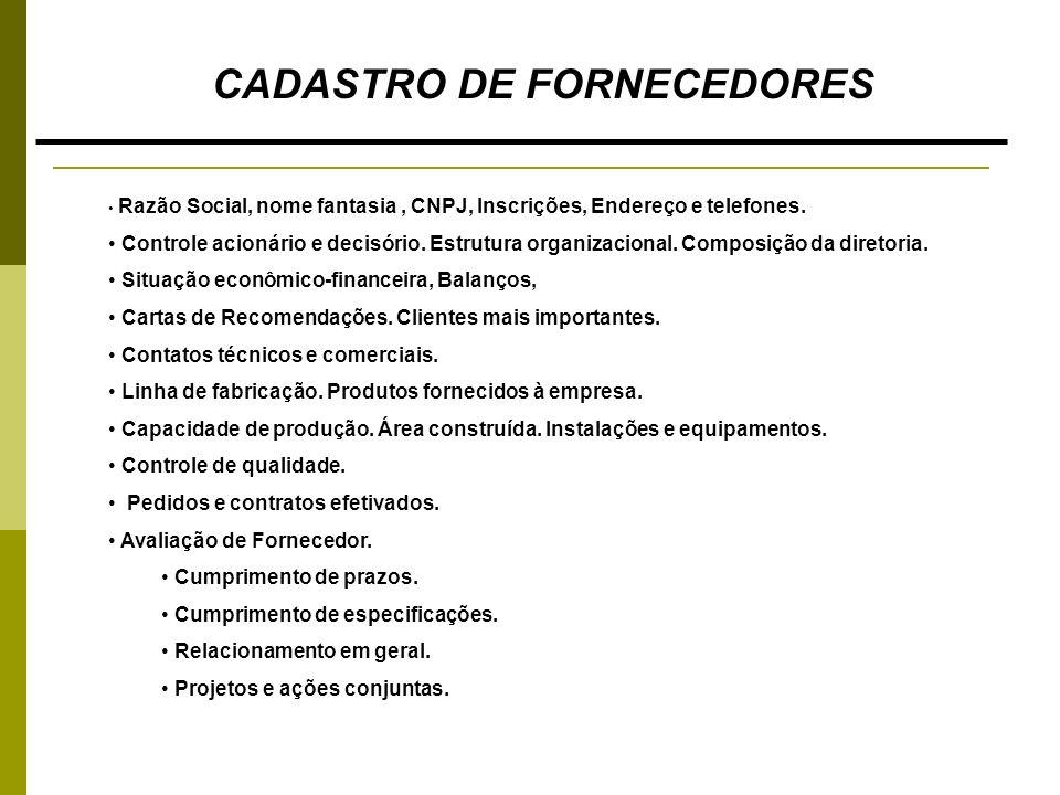 CADASTRO DE FORNECEDORES Razão Social, nome fantasia, CNPJ, Inscrições, Endereço e telefones. Controle acionário e decisório. Estrutura organizacional
