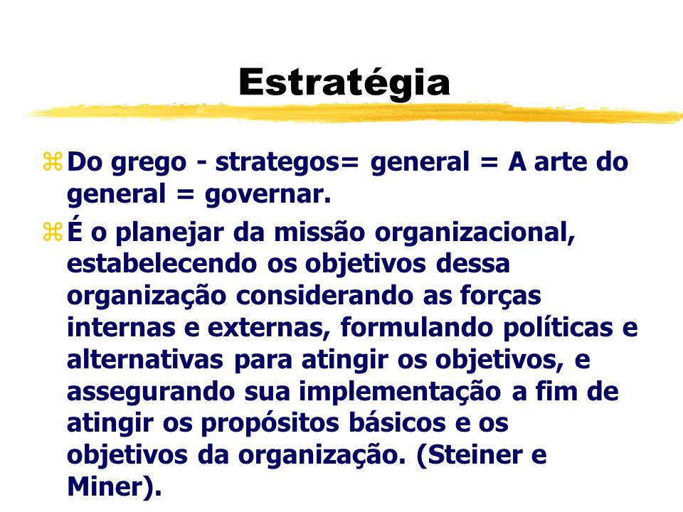 Estratégia zDo grego - strategos= general = A arte do general = governar. zÉ o planejar da missão organizacional, estabelecendo os objetivos dessa org