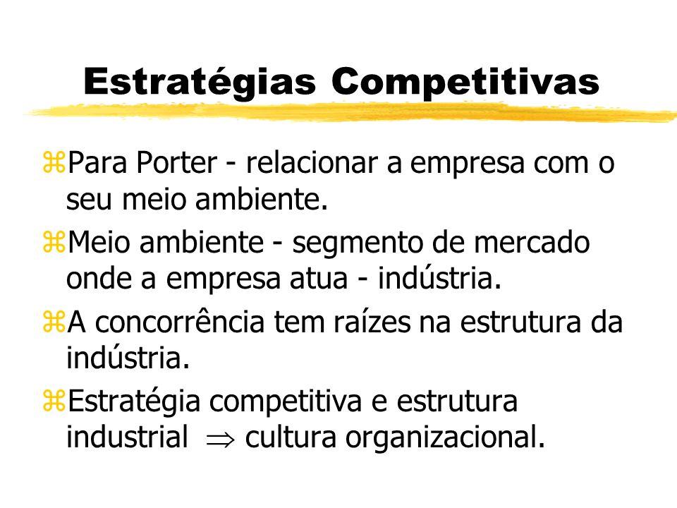 Estratégias Competitivas zPara Porter - relacionar a empresa com o seu meio ambiente. zMeio ambiente - segmento de mercado onde a empresa atua - indús