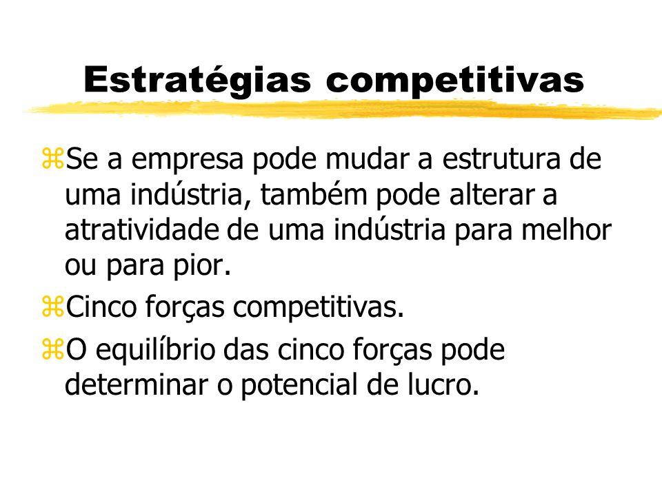 Estratégias competitivas zSe a empresa pode mudar a estrutura de uma indústria, também pode alterar a atratividade de uma indústria para melhor ou par