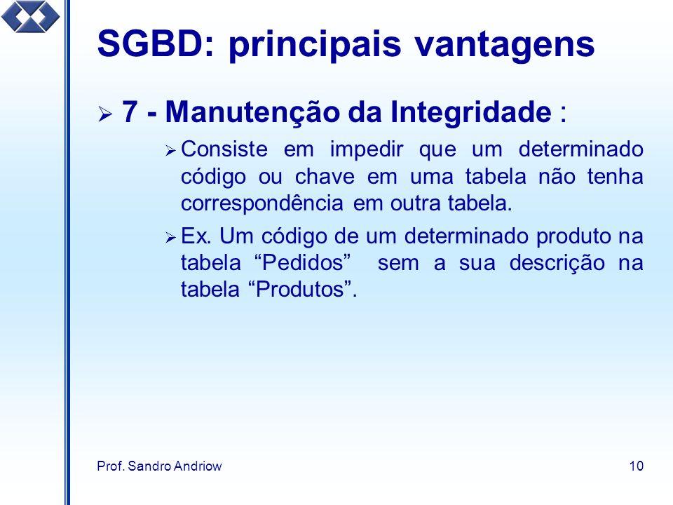 Prof. Sandro Andriow10 SGBD: principais vantagens 7 - Manutenção da Integridade : Consiste em impedir que um determinado código ou chave em uma tabela