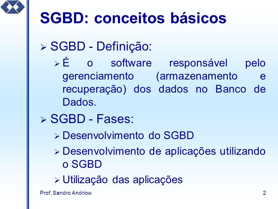 Prof. Sandro Andriow2 SGBD: conceitos básicos SGBD - Definição: É o software responsável pelo gerenciamento (armazenamento e recuperação) dos dados no