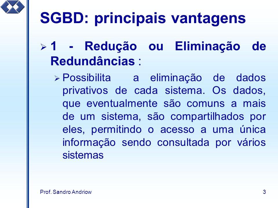 Prof. Sandro Andriow3 SGBD: principais vantagens 1 - Redução ou Eliminação de Redundâncias : Possibilita a eliminação de dados privativos de cada sist