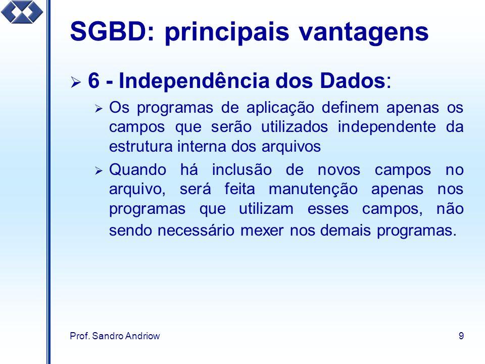 Prof. Sandro Andriow9 SGBD: principais vantagens 6 - Independência dos Dados: Os programas de aplicação definem apenas os campos que serão utilizados