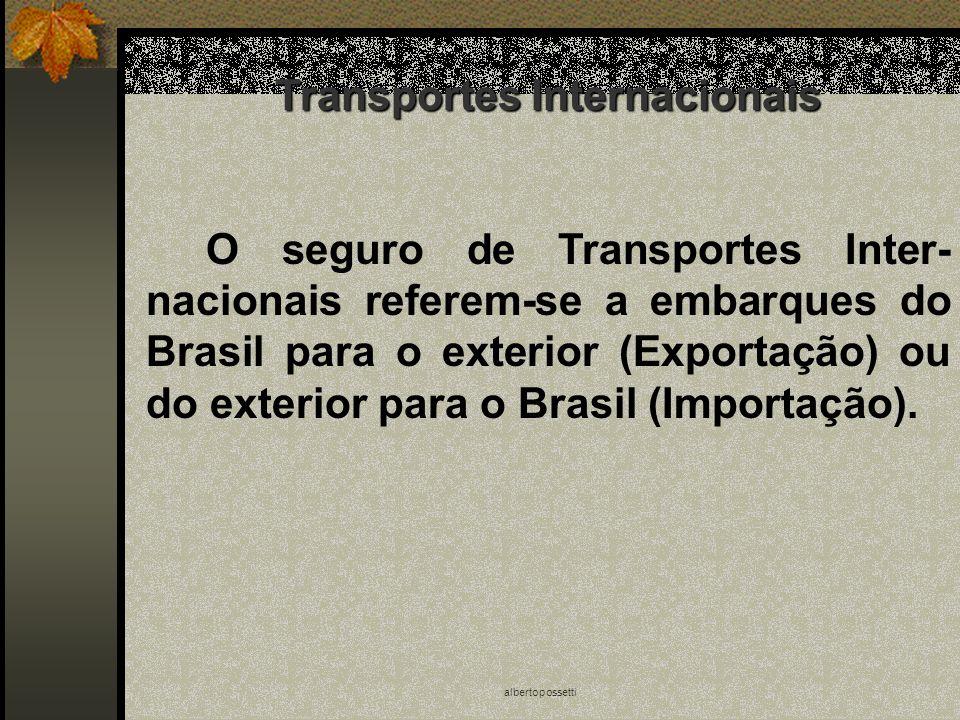 albertopossetti Transportes Internacionais O seguro de Transportes Inter- nacionais referem-se a embarques do Brasil para o exterior (Exportação) ou d