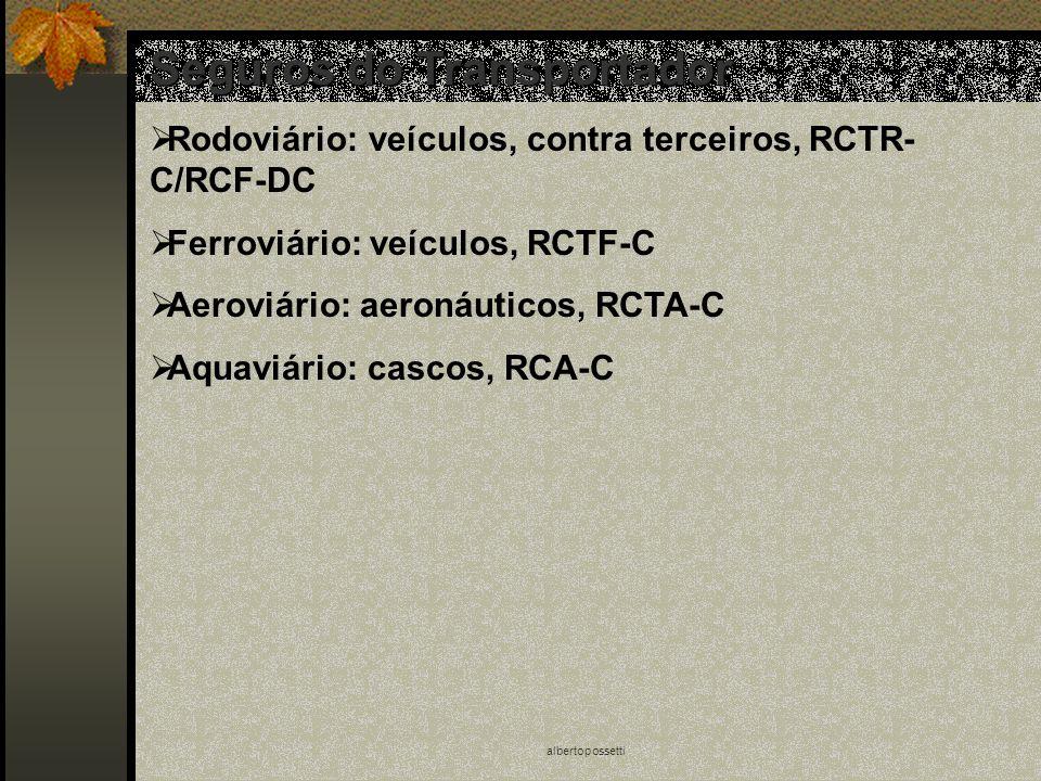 albertopossetti Seguros do Transportador Rodoviário: veículos, contra terceiros, RCTR- C/RCF-DC Ferroviário: veículos, RCTF-C Aeroviário: aeronáuticos