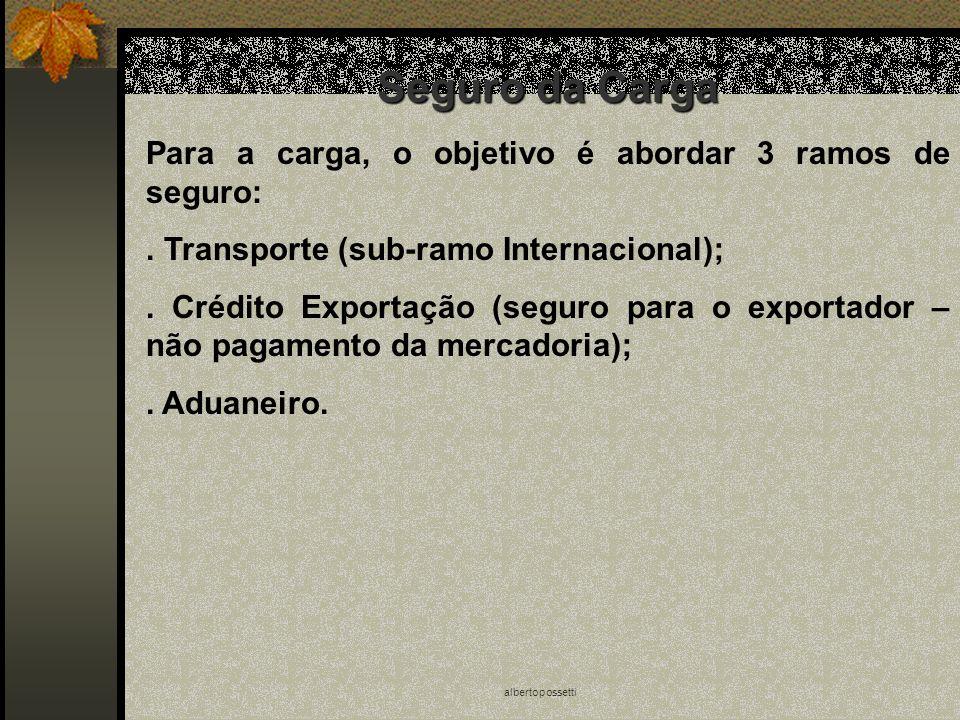 albertopossetti Seguro da Carga Para a carga, o objetivo é abordar 3 ramos de seguro:. Transporte (sub-ramo Internacional);. Crédito Exportação (segur